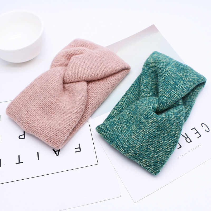 Winter Knitted Cross Headband For Women Girls Wide Warm Ear Twisted Turban Hairband Hair Accessories
