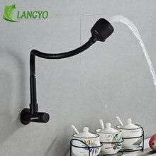 Torneira de parede de aço inoxidável, torneira de água fria preta com orifício único
