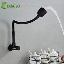 WALL Black Solid Stainless steel Kitchen Mixer Single Cold Water Kitchen Tap Single Hole Kitchen Faucet Torneira Cozinha