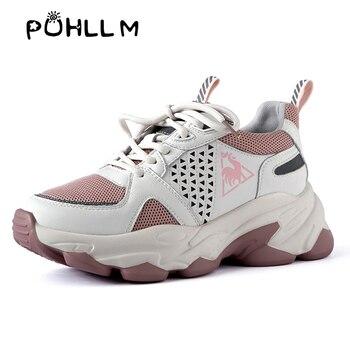 Zapatillas de deporte PUHLLM para mujer, zapatillas gruesas rosadas de cuero de vaca, deportivas de moda para mujer, zapatos vulcanizados, suela gruesa B75