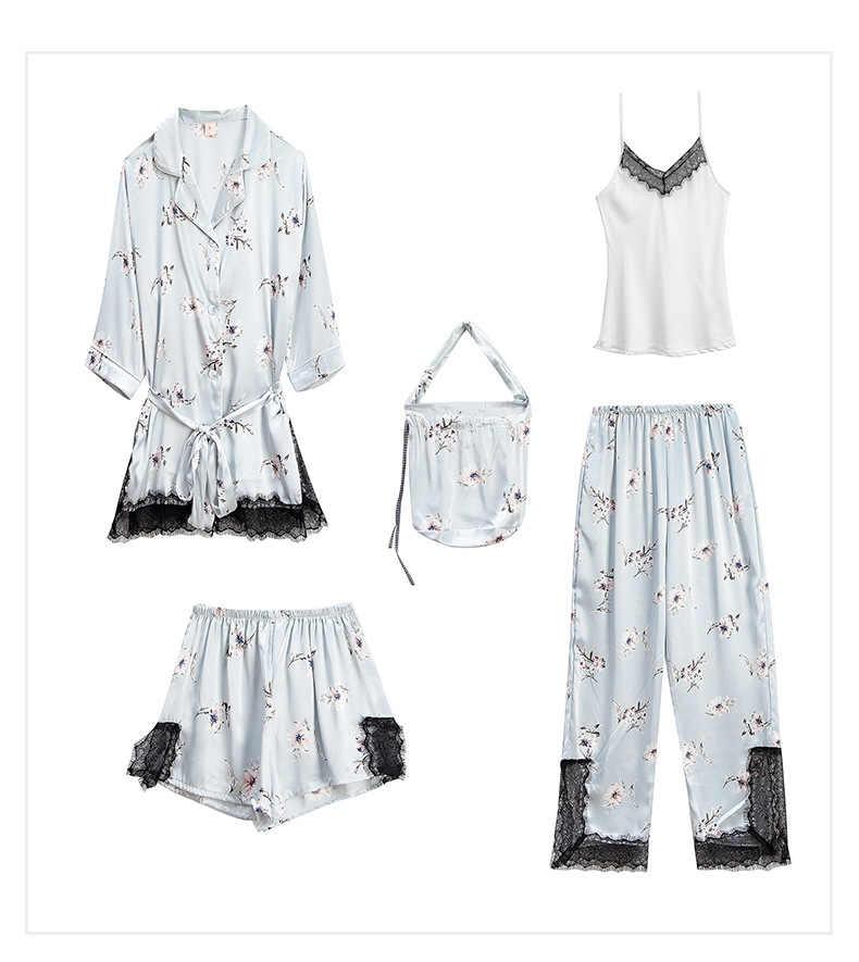 Ilkbahar yaz kadın saten Pijama setleri bayanlar seksi ipek çiçek baskı 5 parça Pijama kadın dantel Pijama kadınlar için Pijama
