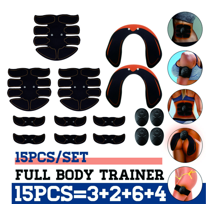 15pcs Abs Slim Stimulator Abdominal Muscle Hip Trainer Buttock Toning Trimmer
