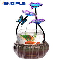110V/220V Ceramic Glass Petal Water Fountain Lucky Feng Shui Waterfall Fish Tank Water Feature Desktop Ornaments Home Decoration