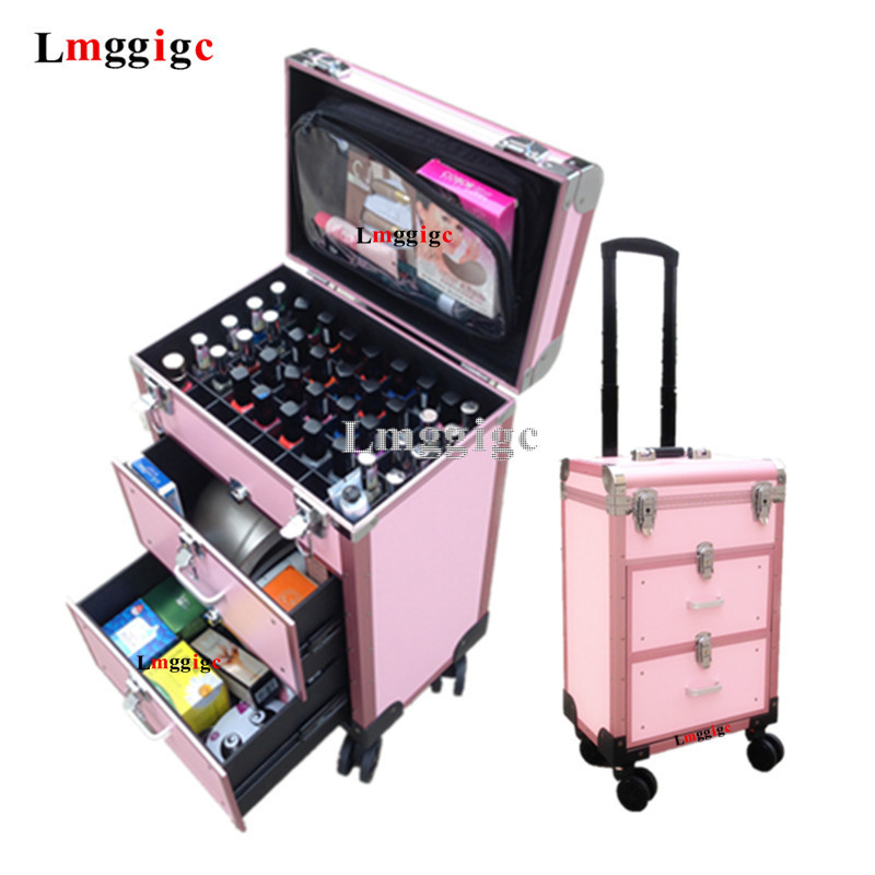Makeup Box Cosmetic Case Luggage Manicurist Suitcase Bag Scalable Make-up Artist Aluminum Frame+PVC+fireproof Material Trolley