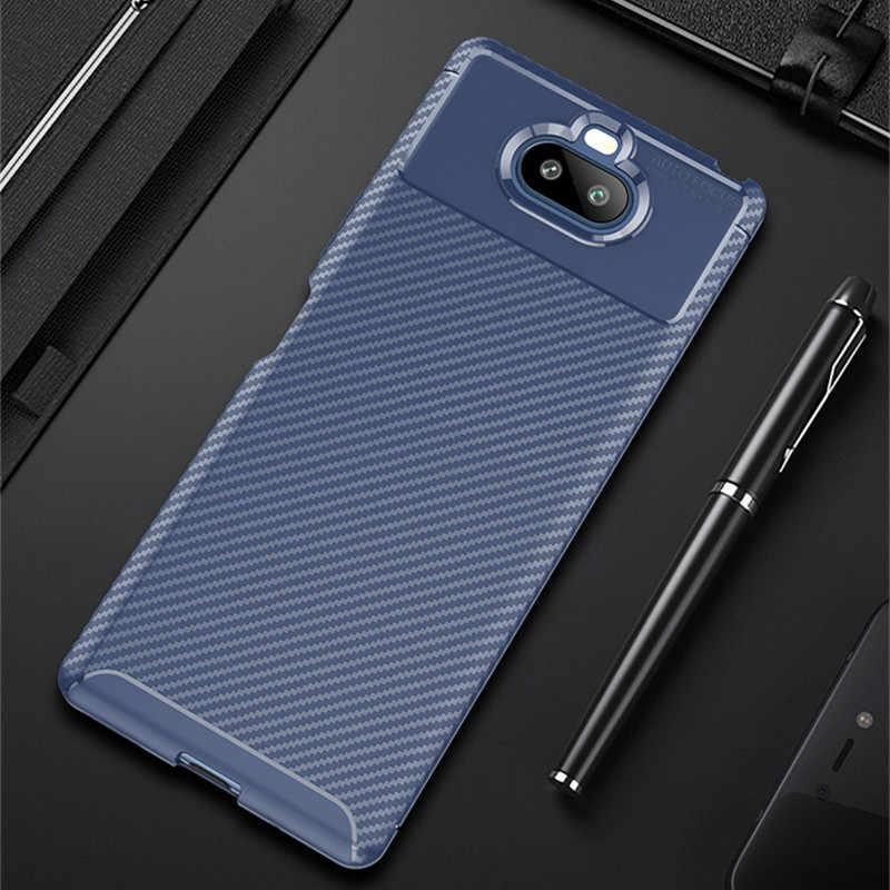 Più nuovo del Carbonio Posteriore Del Telefono Custodie per SONY Xz4 Xz3 Xz2 Caso compatto XA2 Più XA3 ultra Xperia 1 2 10 20 della copertura Del Silicone di Protezione