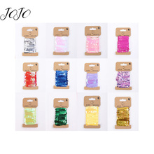 JOJO BOWS 5mm 5y Round Sequin Solid Mesoporous Beads Chain Trims Line Paillettes For Needlework Apparel Sewing Material DIY Bags