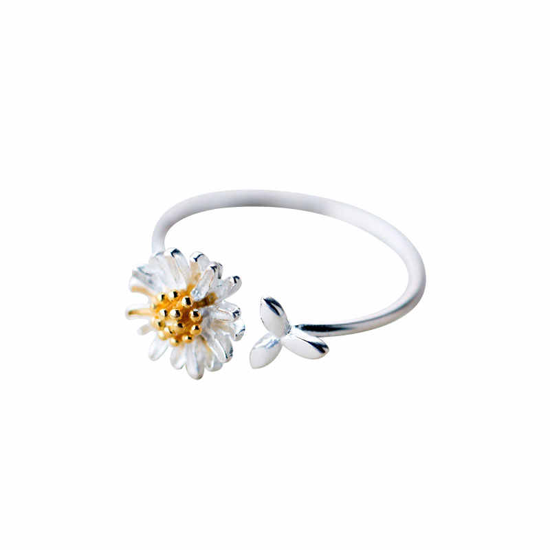JIANERY טרנדי 925 סטרלינג כסף דייזי פרחי טבעות לנשים כלה חתונת אירוסין תכשיטי גדול פתיחת עתיק טבעות