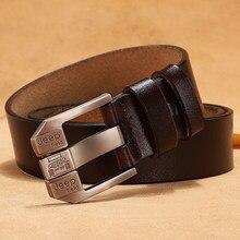 Cinturón de piel auténtica de vaca para hombre, 140, 150, 160, 170 cm, hebilla de Pin de cuero de vaca Real, correa de diseñador de marca de lujo
