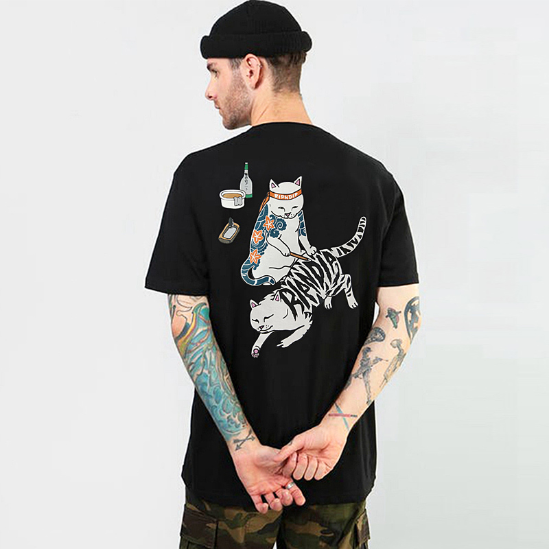 LINDSEY SEADER Hip Hop T Shirt Men Japanese The Middle Finger Cats T-shirt Harajuku Tshirt Casual Short Sleeve RIP Tops Tee DIP