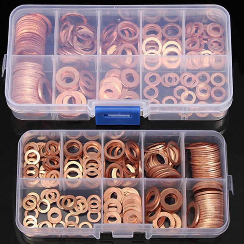 200Ps/box Copper Washer Gasket Nut and Bolt Set Flat Ring Seal Assortment Kit with Box M5/M6/M8/M10/M12/M14 for Sump Plugs Water