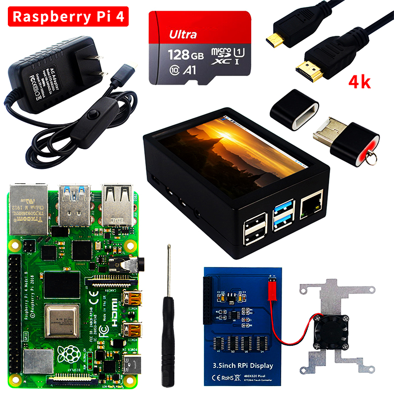 Raspberry Pi 4 Model B Kit 2GB/4GB/8GB RAM + SD Card + Case + Cooling Fan + 4K HD Video Cable + Power Supply for Raspberry Pi 4B