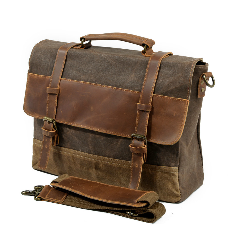 European and American Retro Style Waterproof Oil Wax Canvas Genuine Leather Briefcase Men's Bag Laptop Shoulder Handbag