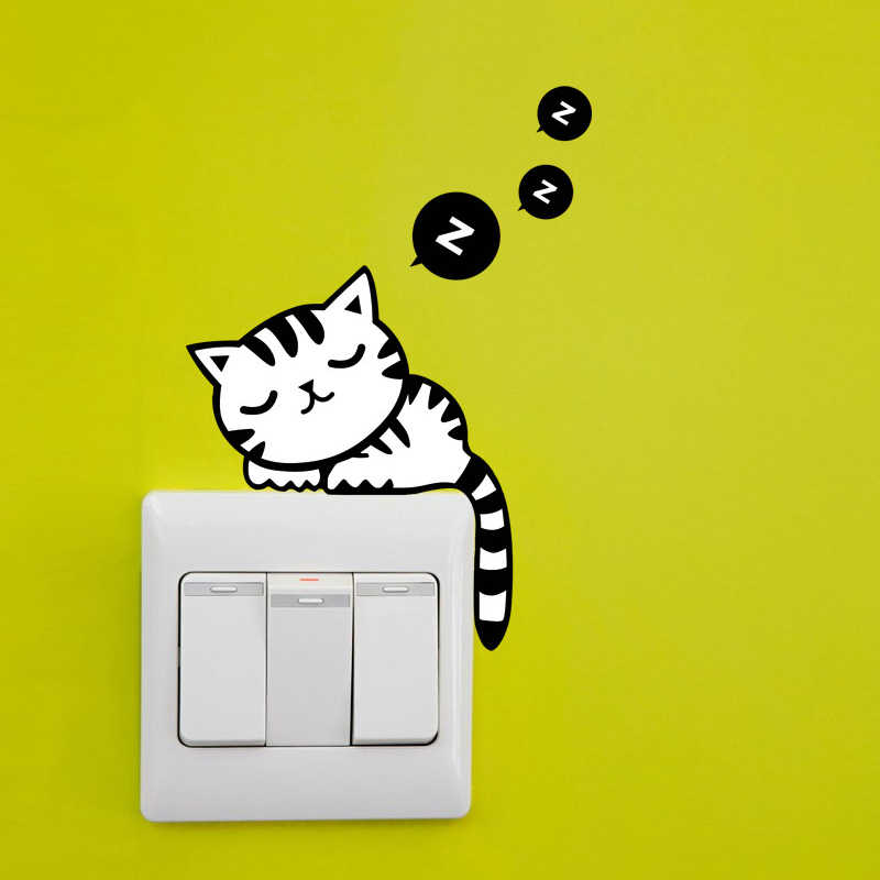 Funny Cute Sleeping Cat  Switch Stickers Wall Stickers Decal Home Decoration Bedroom Living Room Parlor Decoration