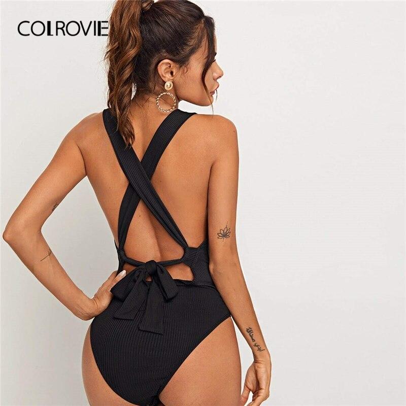 COLROVIE Black Tied Crisscross Open Back Rib-knit Bodysuit Women 2020 Summer Square Neck Mid Waist Skinny Sexy Tank Bodysuits