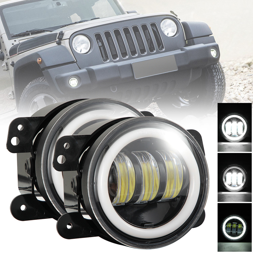 2pcs 4 Inch 30W 6000K Round Off Road Fog Light 1200LM Super Bright LED Driving Lamp with White Halo Ring for Jeep Dodge Chrysler