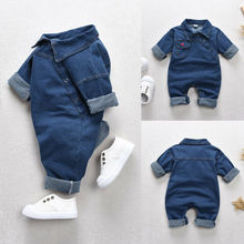Baby Girl Boy Short Sleeve Long Pants Cool Denim Romper Clothes Toddler Kids Blue Jeans Jumpsuit