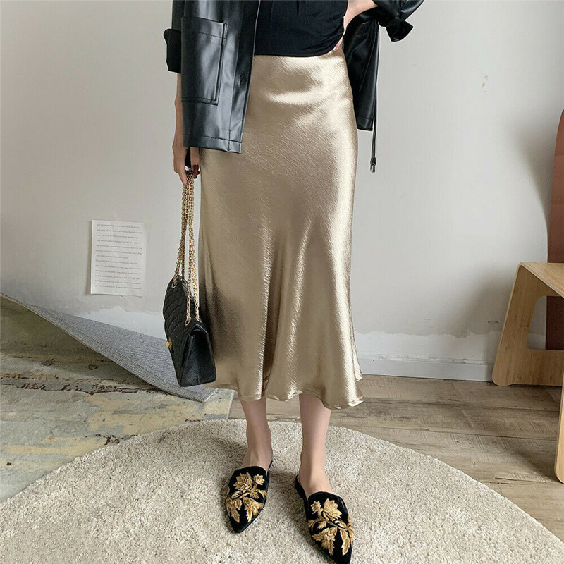 Elegant Gypsy Bodycon Skirts Women Lady High Waist Solid Shiny Satin Skirts Fashion Solid High Street OL Work Party Midi Skirts