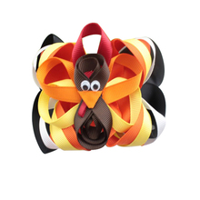 5 inch Handmade ribbon turkey hairpin for Thanksgiving gift hair clip kids Bow Barrettes