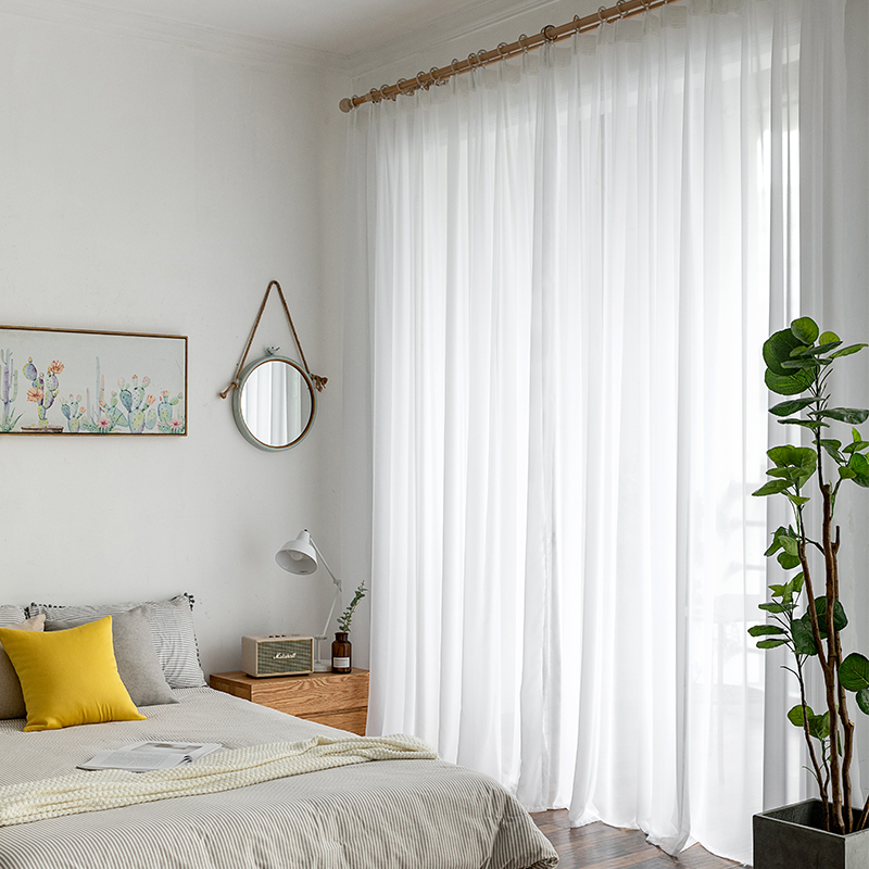 White Tulle Curtains for Living Room Bedroom Modern Chiffon Solid Sheer Voile Curtain Kitchen Balcony Home Decoration in Curtains from Home Garden