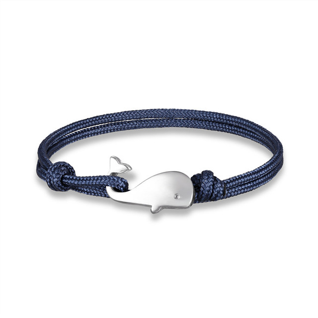 MKENDN Navy style Camping Parachute cord Whale Tail Anchor Bracelet Men Women 550 Paracord Jewelry Wrap Metal Hooks