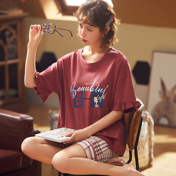 New Style Pajamas Women's Pure Cotton Short Sleeve Summer Korean-style Students Tracksuit Cute Casual Shorts Two-Piece Set summer short sleeve shorts running casual sportswear set women s fashion 2020 summer new short fashion pajamas two piece set