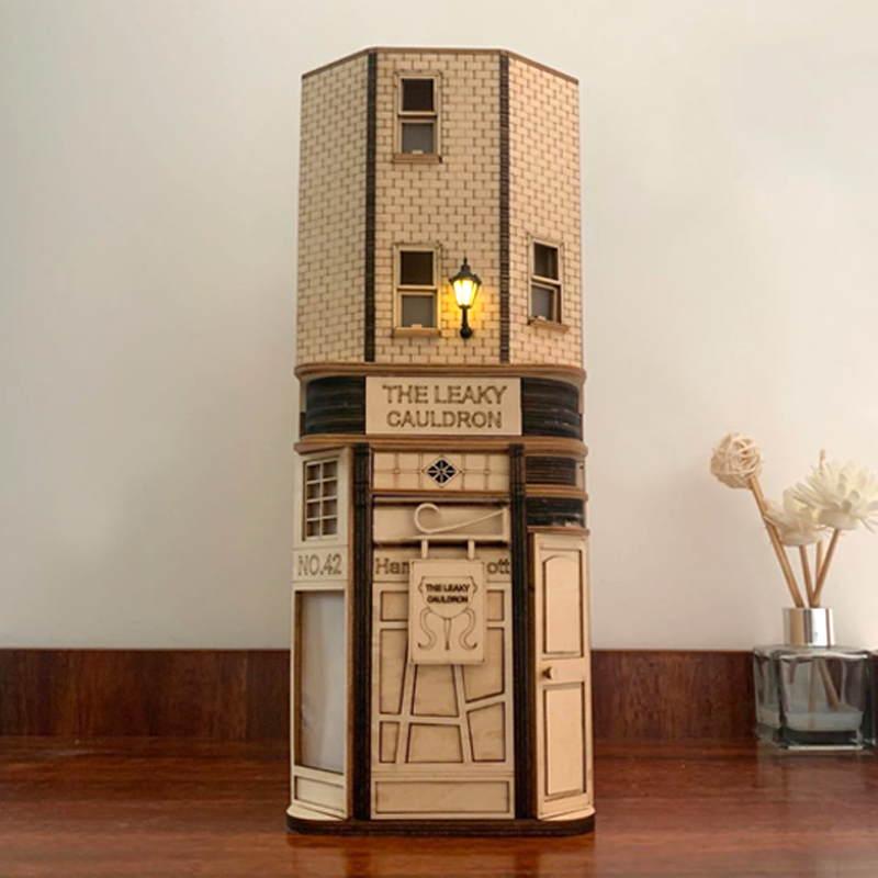 DIY Wooden Dragon Alley Book Nook Shelf Insert Kits Bookends With Led Light Leaky Cauldron Building Model Bookshelf Toys Adults