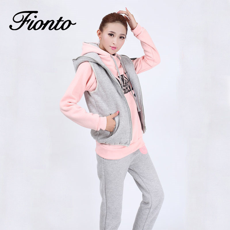 2019 Autumn And Winter New Fashion Women Suit Women's Tracksuits Casual Set With A Hood Fleece Sweatshirt Three Pieces Set