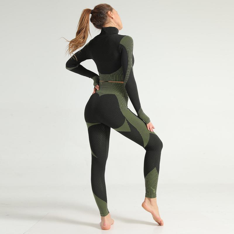 SVOKOR Fitness Women set Gym Suit Stripe Printed Clothing Shockproof Quick-drying Seamless Bra Leggings Sportswear Suit