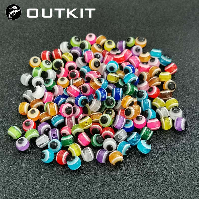 50pcs/lot Fish Eye Fishing Beads 6mm 8mm Mixed Color Luminous Carolina Rigs Taxes Rigs Fishing Beads DIY Kit Bass Fishing Tackle