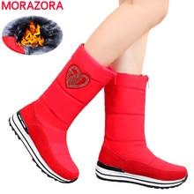 MORAZORA 2020 חדש פרה עור שלג מגפי נשים טריזי פלטפורמה עמיד למים מגפי עבה פרווה חם חורף מגפי גבירותיי חצי botas