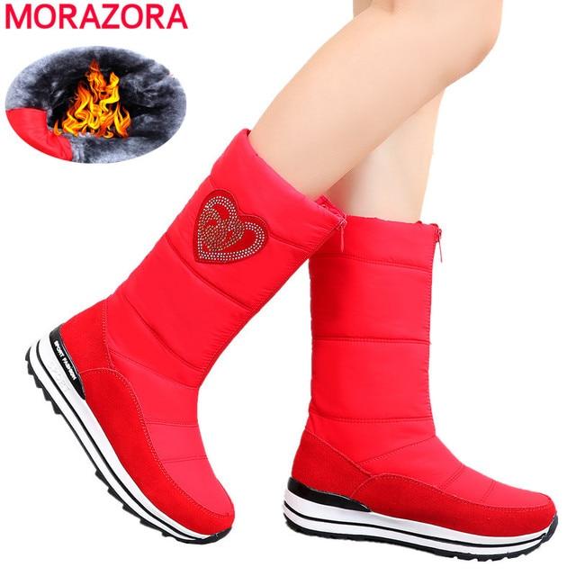 MORAZORA 2020 جديد جلد البقر الثلوج أحذية النساء أسافين الأحذية منصة مقاوم للماء سميكة الفراء الدافئة الشتاء أحذية السيدات نصف بوتاس