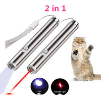Upgrade 2-In-1 LED Laser Pet Cat Toy&LED Light AAA Better Pen Red Dot Toy Sight Interactive with
