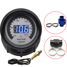 Water-Temperature-Gauge Hose-Adapter Sensor Joint-Pipe Voltmeter 52MM with 40-140 2-In-1