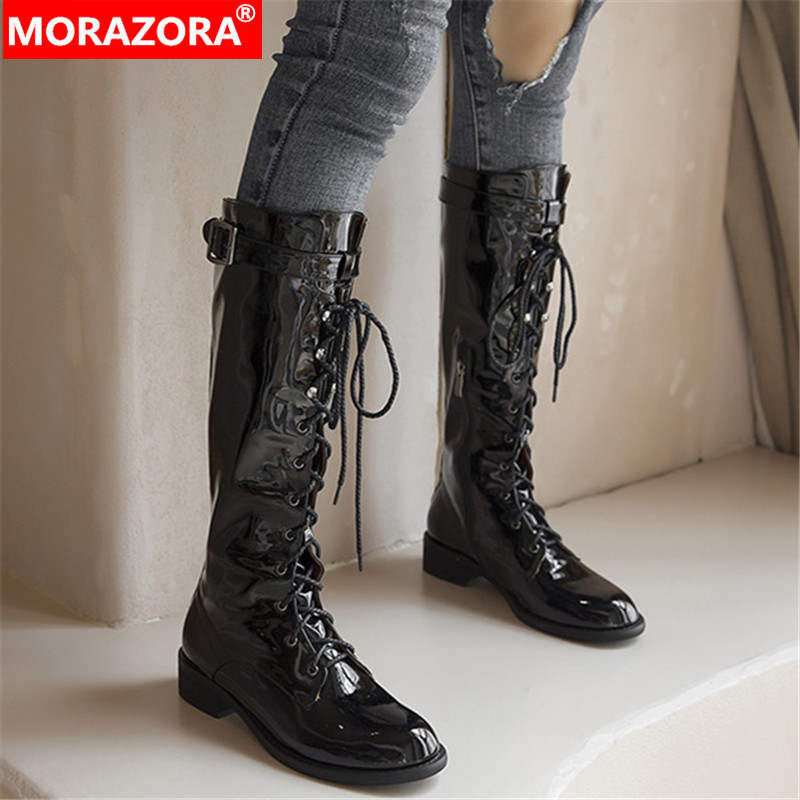 MORAZORA 2020 new arrival women knee high boots autumn winter genuine leather shoes buckle fashion Motorcycle Boots female