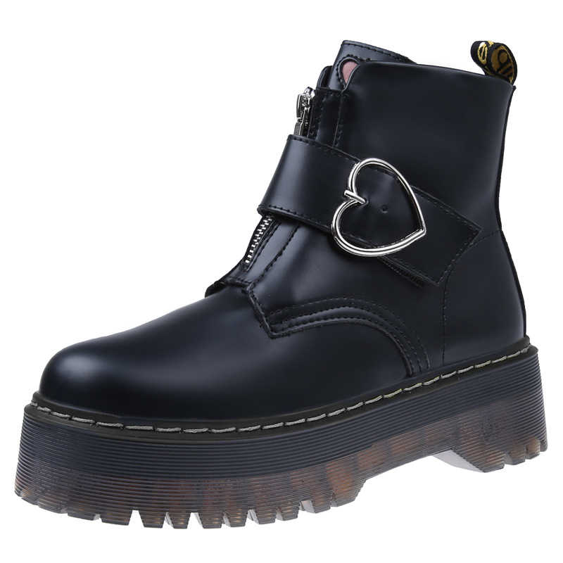 Sonbahar kış çizmeler kadın platformları yarım çizmeler fermuar toka motosiklet ayakkabı yumuşak deri kadın botları kadın kış ayakkabı