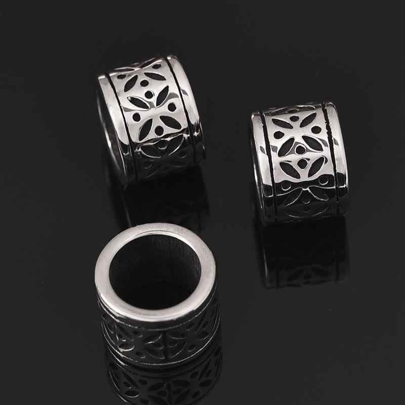Cuentas huecas de acero inoxidable, de 8mm agujero grande, abalorio deslizante de Metal Rondelle Bead Blacken para DIY, pulsera para hombres, fabricación de joyas