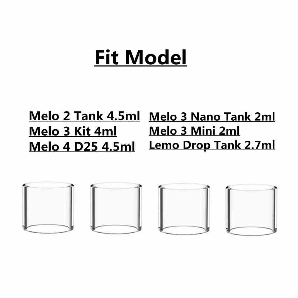 4PCS/PACK Pyrex Glass Tube For Melo 4 D25/Melo 2/ Melo 3/ Melo 3 Nano/ Melo 3 Mini/Lemo Drop Tank Atomizer Vape Glass Tube