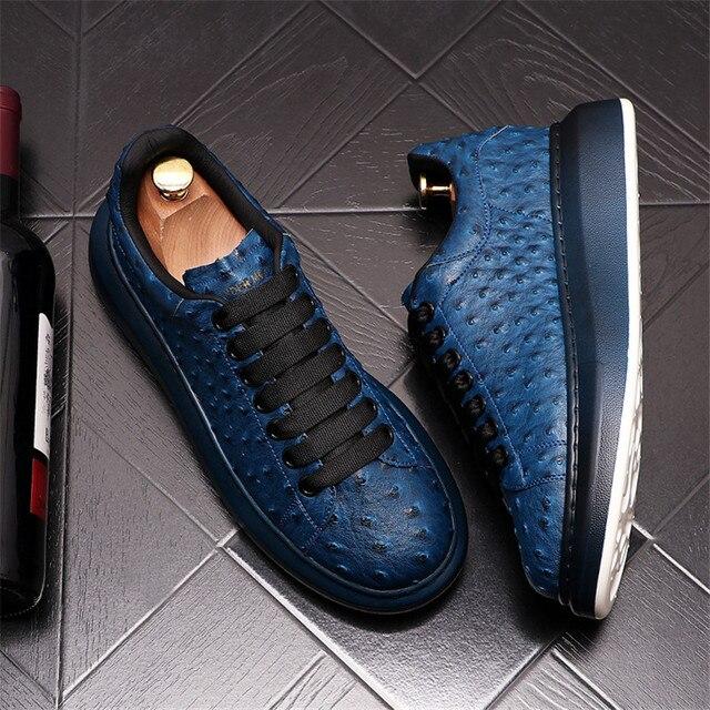 Ostrich-Zapatillas de cuero de lujo para Hombre, zapatos planos informales con plataforma creciente de altura, estilo Hip Hop 1