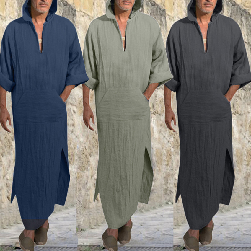 Man Muslim Saudi Arab Turkish Kaftan Islamic Traditional Jubba Thobe Hooded V-neck Linen Medieval Long Robe Vintage Clothing