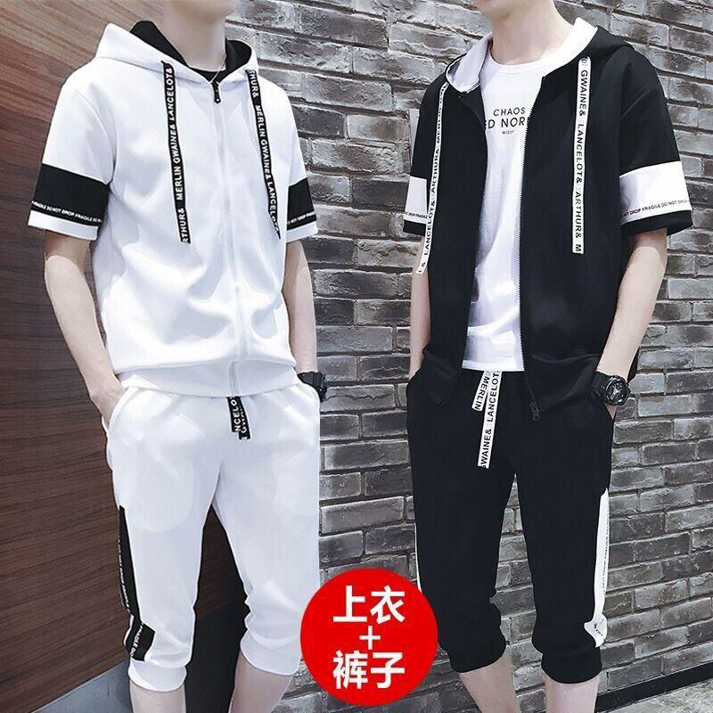 Spring Summer MEN'S Shorts Thin Short Sleeve Set Teenager Students Sports Clothing Men's Korean-style Trend Two Pieces A Set