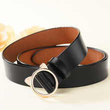 Correa Women Belts Leather Luxury High Quality Designer New Fashion Metal Cute Cat Ears Buckle Strap Jeans Accessories