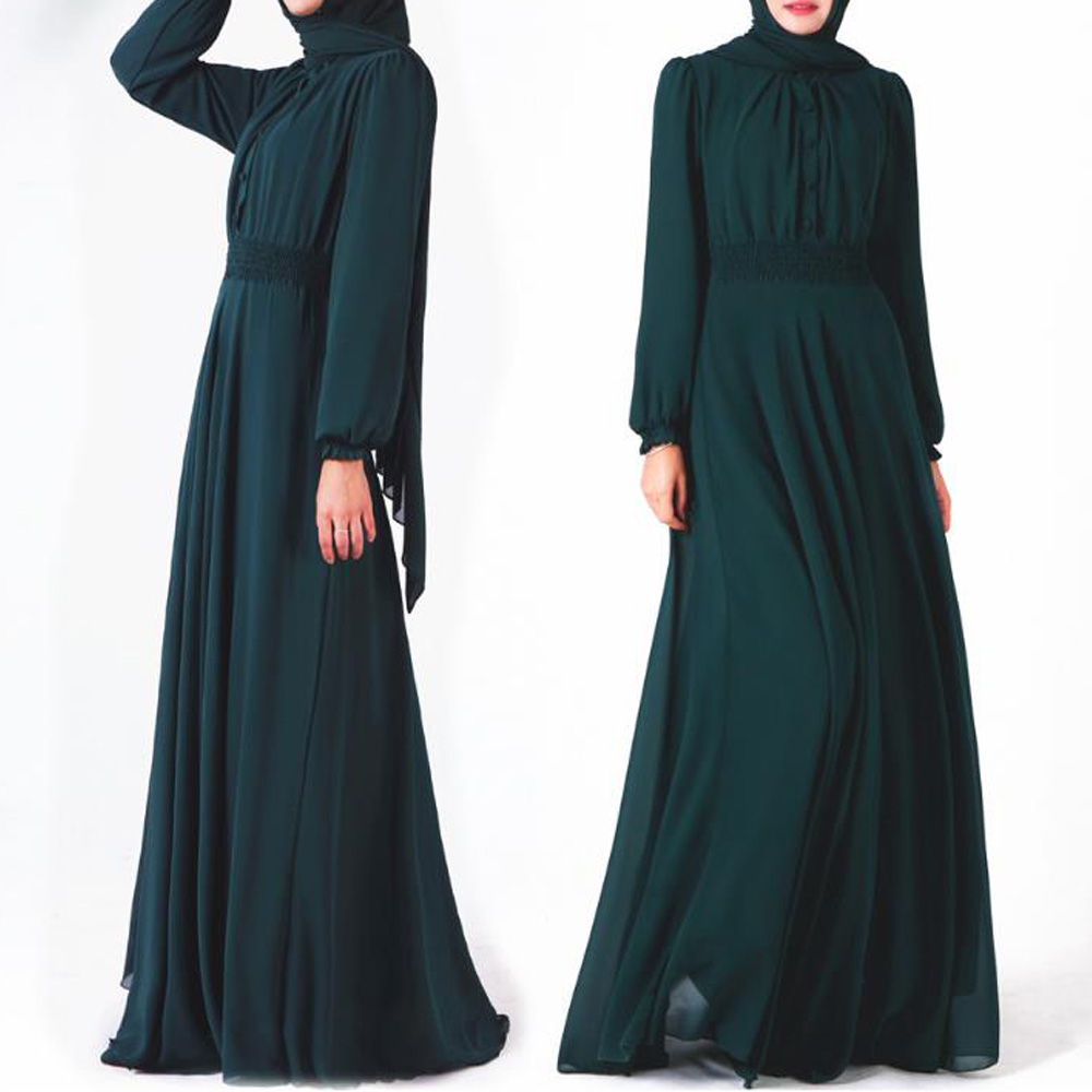 Grande taille femmes musulmanes Robe simple boutonnage boutons à manches longues Abaya caftan Robe turquie arabe islamique vêtements Vestido Robe