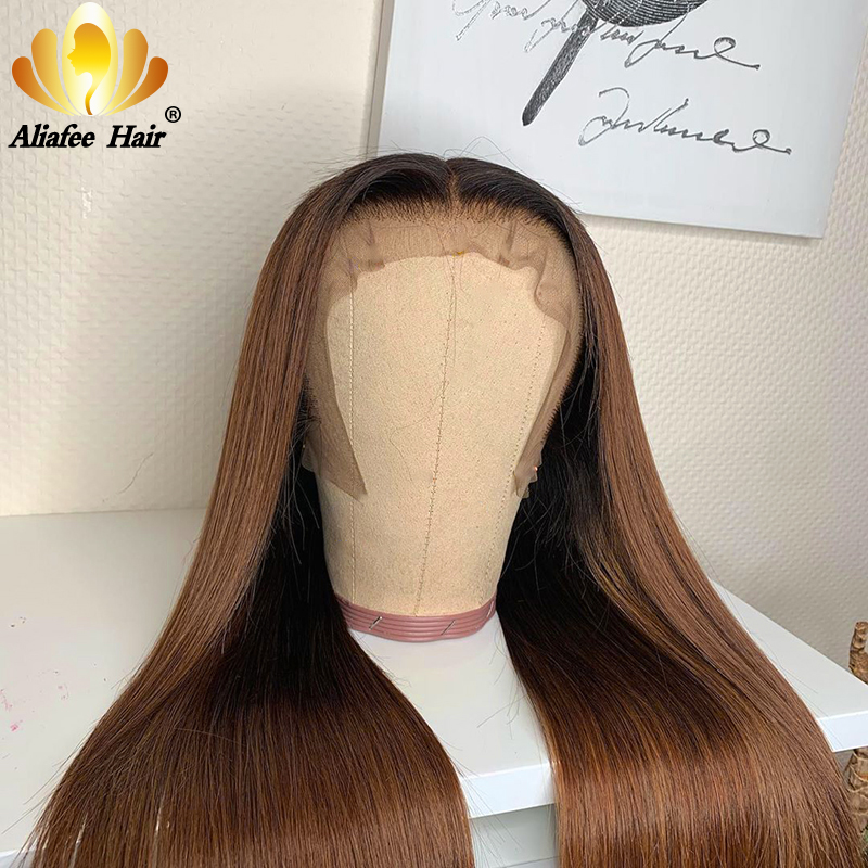 Aliafee Color 1B/30# Straight Wig Glueless 13x4 Lace Front Human Hair Wig 150% Density Remy Hair Wig With Baby Hair For Women