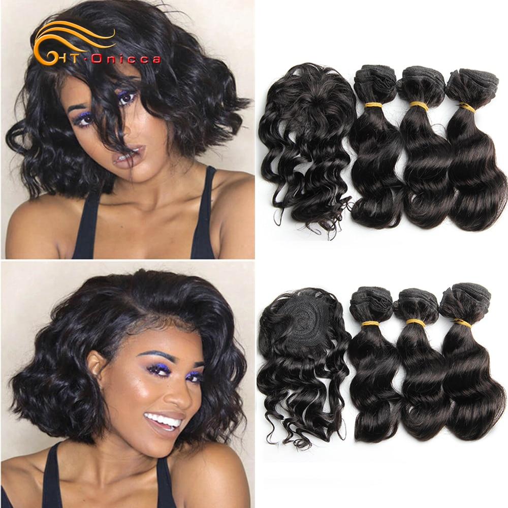 Htonicca frouxo profunda tecer cabelo brasileiro pacotes 8 polegada 100% cabelo humano 3 pacotes e fechamento extensões de cabelo preto natural