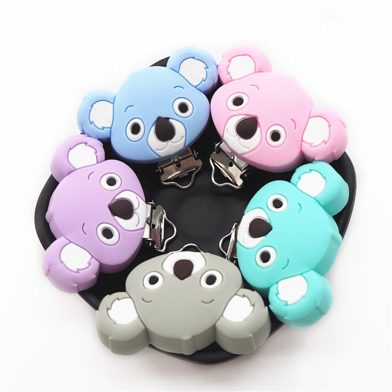 Chenkai 10PCS Silicone Koala Clips DIY Baby Teether Pacifier Dummy Chain Holder Soother Nursing Jewelry Toy Clips BPA Free