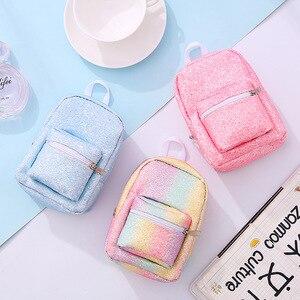 Mini Coin Pols Portemonnee Rugzak voor Vrouwen Pailletten Glitter Kleine Rugzak Purse Designer Meisjes Back Pack Kawaii Leuke Zak(China)