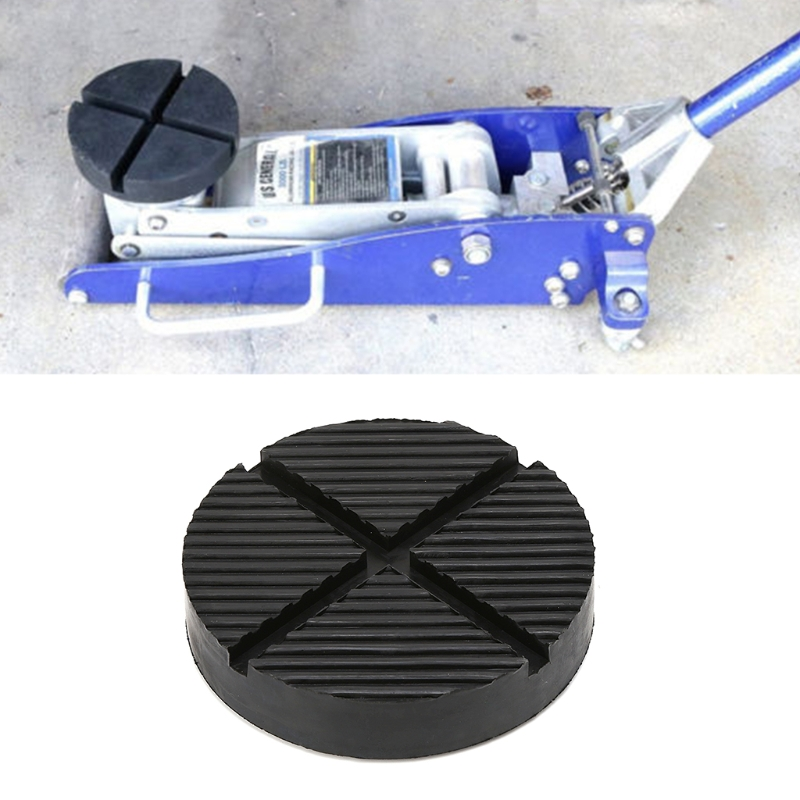 1pc Universal Car Truck Cross Slotted Frame Rail Floor Jack Disk Rubber Pad Adapter