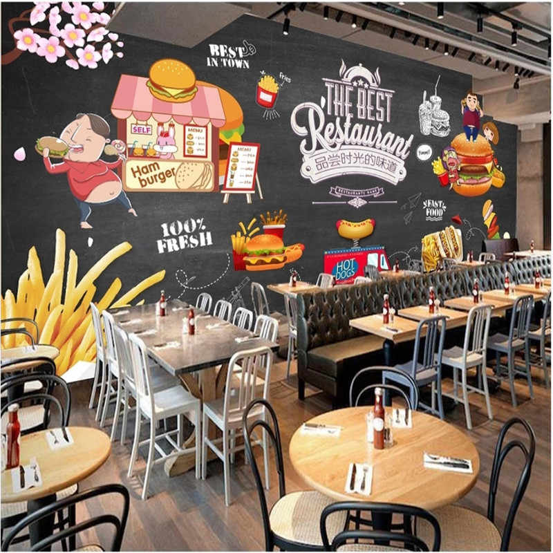 HD pizarra pintada a mano occidental comida rápida restaurante Mural papel tapiz 3D hamburguesa tienda decoración Industrial Fondo pared papel 3D