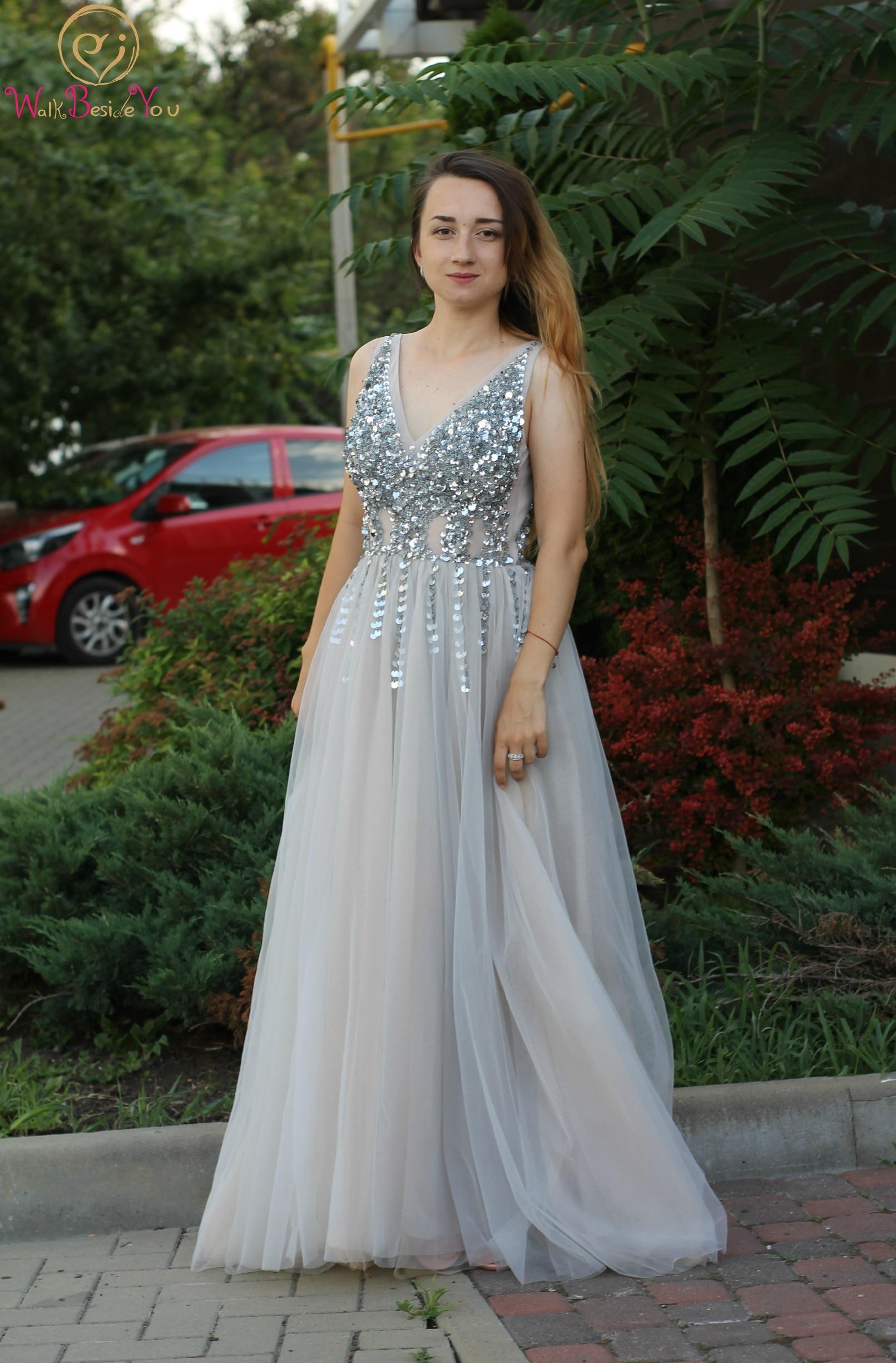 Deep V Neck   Prom     Dresses   2019 New Split Tulle A Line Sleeveless Sequins Floor Length Long Evening Gowns Formal robe de soiree