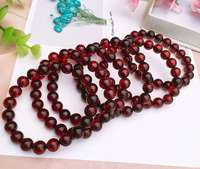 8.5mm Certificate Natural Blood Red Amber Round Beads Bracelet Women Party Gift Stretch Red Amber Bracelet Cetificate AAAAA